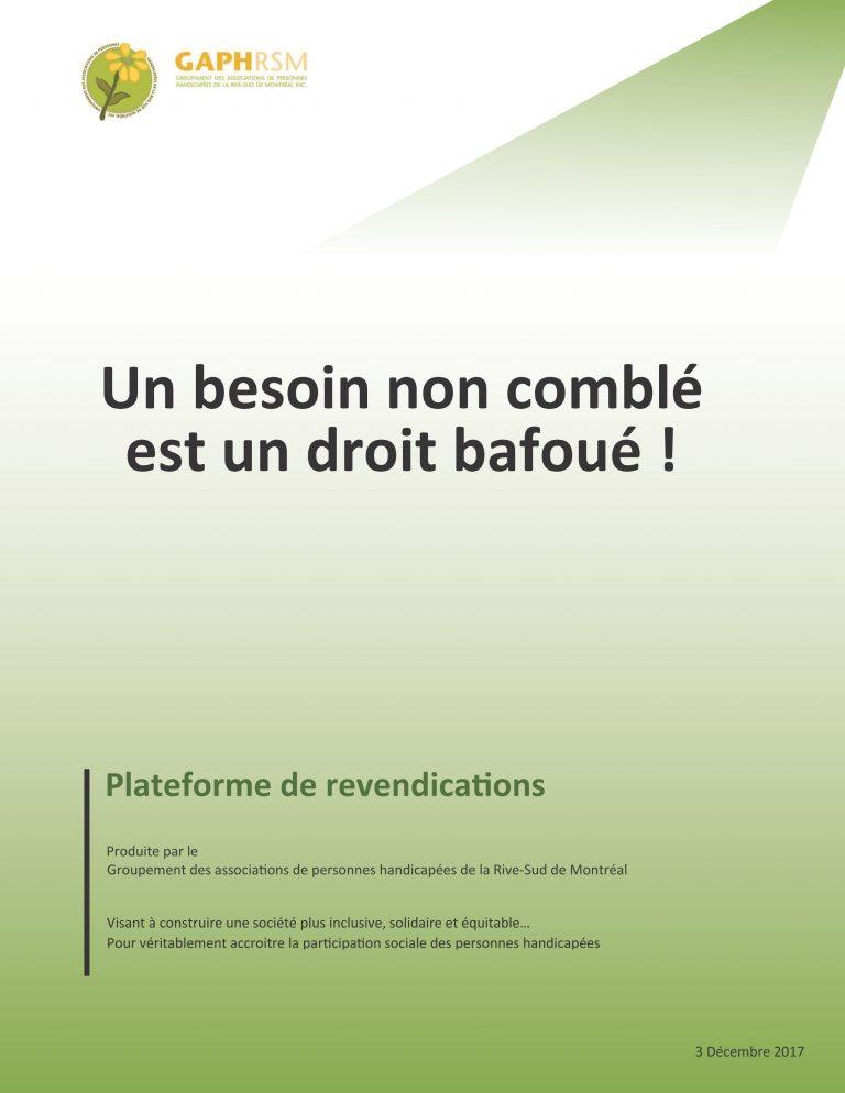 Plateforme de revendications «Un besoin non comblé est un droit bafoué»