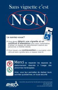 Affiche produite par l'APHRSO sur le respect des espaces de stationnement intitulée sans vignette c'est non!