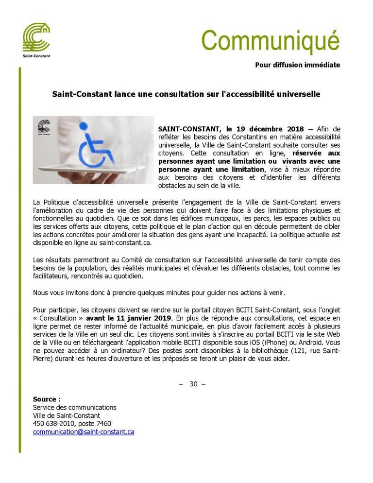 Saint-Constant lance une consultation sur l'accessibilité universelle