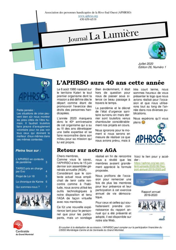 page couverture du journal